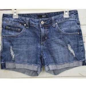 ANA Womens Jean Shorts Blue Cuffed Ripped Stretch